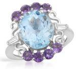 Дамски сребърен пръстен с естествени аметисти топаз и циркон