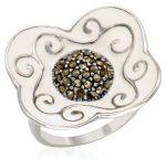 Дамски сребърен пръстен с естествени марказити и емайл