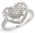 Дамски сребърен пръстен с естествени диаманти