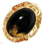 Дамски златен пръстен с естествени жаде, цитрин и брилянти