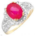 Дамски златен пръстен с естествени брилянти и рубин